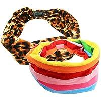 BEETEST Turbante de Pelo Portátil amplio estiramiento diademas algodón puro cómodo elástico banda Head wrap decoración accesorios de moda para las mujeres dama niñas deportes ejercicio Yoga 2Pcs