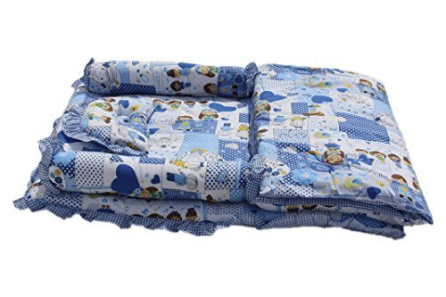 Amardeep and Co Baby Mattress with Quilt Collage (Blue) - sb123