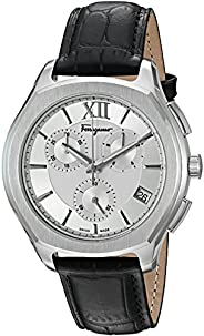 Salvatore Ferragamo Men's 'LUNGARNO Chrono' Quartz Stainless Steel and Leather Casual Watch, Black