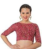 Studio Shringaar Women's Cotton Readymade Saree Blouse (S1899Pk36_Pink_36)