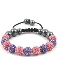 11-Ball Pink & Purple Bead Shamballa Bracelet on Black String