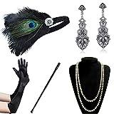 Coucoland 1920s Accessoires Set Damen Gatsby Kostüm Zubehör Set inklusive Stirnband Halskette Handschuhe Ohrringe Zigarettenhalter (Set-5)