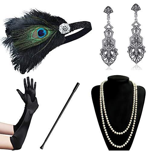(Coucoland 1920s Accessoires Set Damen Gatsby Kostüm Zubehör Set inklusive Stirnband Halskette Handschuhe Ohrringe Zigarettenhalter (Set-5))