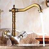 SADASD Moderne Badezimmer voll Kupfer Waschbecken Wasserhahn Messing Mixer Mixer Doppel Waschbecken Keramik Ventileinsatz Kaltes Wasser mit G 3/8 Schlauch Tippen