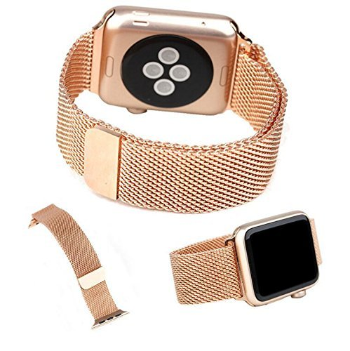 Preisvergleich Produktbild Apple Watch Band,  DRUnKQUEEn 38mm Milanese Loop Stainless Steel Smartwatch Bracelet Strap Band for 38mm Apple Watch & Sport & Edition with Unique Fully Magnetic Lock Closure (No Buckle Needed)