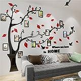 Guangmu Wandaufkleber mit Bilderrahmen 3D Wandtattoos Wandsticker Speicher Foto Acryl Baum Sticker für Hause Dekorationen Kunst (Rot Rechts, L(230 * 164.3CM))