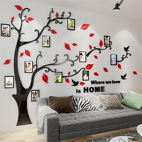 Murali 3d adesivo da parete, rimovibile albero murali e cornici per foto sticker decorazioni per interni, sale, asili nido, stanze per bambini, aule, ecc. (l: 175 * 230cm, rosso destra)