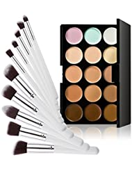 LEORX Gesicht Kontur Kit Highlighter Make-up Kit 15 Creme Concealer Farbpalette mit Pinsel 10ST