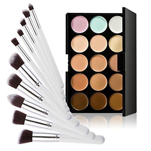 Pixnor 15 Farben Kontur Gesicht Creme Make-up Concealer Palette + Foundation Pinsel - Spot Concealer Pinsel