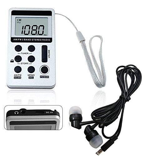 REFURBISHHOUSE 1pz Portatil DC 5V Mini Radio de Dos Bandas de Bolsillo Receptor Digital FM/Am con Auriculares Cable USB