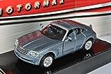 Chrysler Crossfire Coupe Grau 2003-2007 1/43 Motormax Modell Auto mit individiuellem Wunschkennzeichen