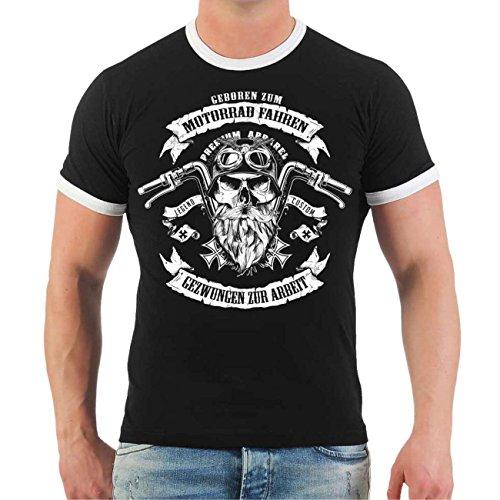 Männer und Herren T-Shirt Motorrad fahren & gezwungen zur Arbeit Größe S - 8XL Schwarz/Weiß