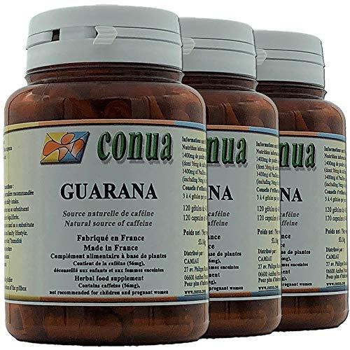 3 Fläschchen Guarana 443 mg reines Pulver (einschließlich 56 mg Koffein) ⭐️ 120 Kapseln Aktion: Abnehmen und Energie -