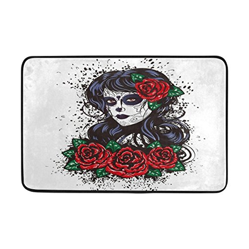 d Rose Blume Sugar Skull Girl Fußmatte Indoor Outdoor Entrance Unterlegmatte Badezimmer 59,9 x 39,9 cm (Sugar Skull Girl Halloween)