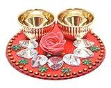 #5: One Roof Store Acrylic Haldi Kumkum Holder (10.3 cm x 10.3 cm x 3 cm, Red and Gold)