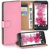 moex HTC One M7 | Hülle Rosa mit Karten-Fach 360° Book Klapp-Hülle Handytasche Kunst-Leder Handyhülle für HTC One M7 Case Flip Cover Schutzhülle Tasche