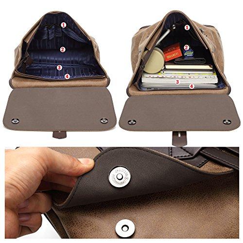 BISON DENIM 14 Zoll Laptop Rucksack Backpack Lederrucksack Schulrucksack für Arbeit Campus Studenten Outdoor Reisen Wandern mit Großer Kapazität (Khaki/N2581-1K)