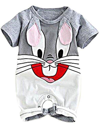 Pagliaccetto neonato bugs bunny estivo con stampa coniglio corto in cotone size 18 mesi cm 95
