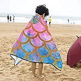 Acquerello sirena pesce scale morbido cotone caldo misto bambini vestire con cappuccio indossabile coperta asciugamano asciugamani avvolgere per bambini piccoli ragazze ragazzi dimensione casa viaggi