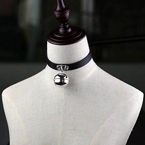 reixus (TM) Frauen Mädchen Geschirr Harajuku Anime Ketten Glocken Anhänger Gothic Choker Halsband Halsbänder Maxi Halskette Hals Léon Jewelry, schwarz