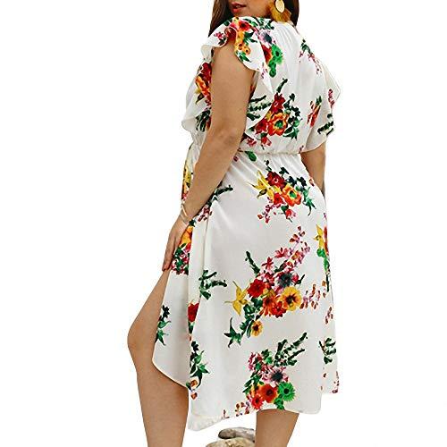 Yujian12 abito sexy in chiffon allentato blu plus size 3xl 4xl donna scollo a v profondo stampato fiori casual abiti estivi in chiffon da spiaggia estiva