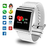Inseguitori di fitness, Smart Braccialetto Monitor di frequenza cardiaca Smart Watch Monitor di pressione sanguigna Fitness Watch Activity Tracker Contacalorie Bluetooth Pedometro Big Face Orologio da polso con Sleep Monitor chiamata in arrivo Ricorda Adatto per uomo