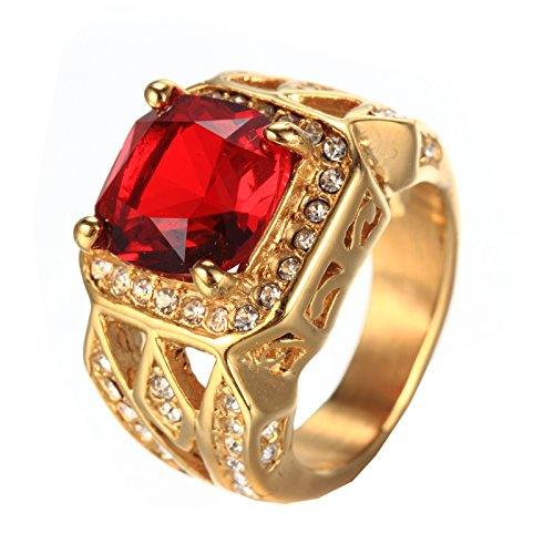 PMTIER Herren Jahrgang Edelstahl Zirkonia Kristall Ring Gold Rot Größe 54 (Rubin-gold-ring Für Männer)