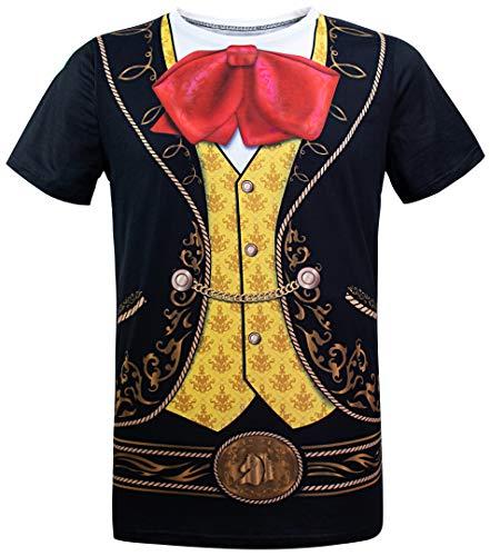 COSAVOROCK Mariachi Halloween Kostüm Bedruckte T-Shirts für Herren (XXL, Schwarz)