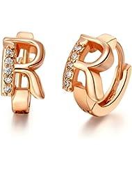 AnaZoz Joyería de Moda Simple Personalidad Pendientes del Aro Para Mujer Chapado en Oro Rosa Letras del Alfabeto R Zirconia Pendiente Ancho 9mm Para Mujer