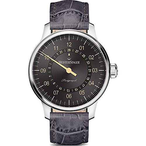Meistersinger Men's Perigraph 43mm Grey Leather Band Automatic Watch AM1007OR