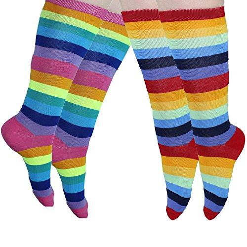 Kniehohe Socken für Frauen, bunt gestreift, 2 Paar M Rainbow red pink