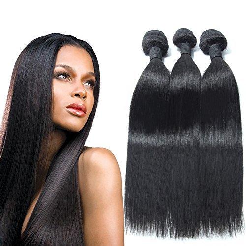 3 Lots 7 grade A Virgin Remy indien long Défrise Extensions tissage, Couleur Noir Naturel (12 14 16)