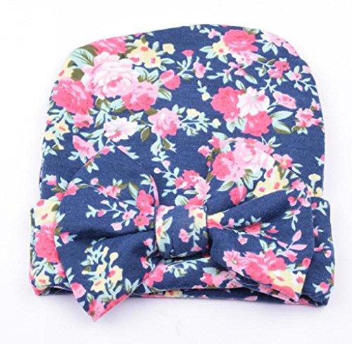 Covermason Neugeborene Baby Kinder Hüte Mit Blume bowknot Blume (Blau) (Marine-blau-wohnungen)