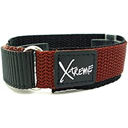 New X-Treme 20mm Tough Secure Hook & Loop Nylon Watch Band Strap Gents Men's with Ring End - Light Brown