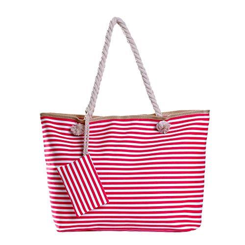 Große Strandtasche mit Reißverschluss 58 x 38 x 18 cm gestreift Beere weiß Shopper Schultertasche - Pink Gestreiften Strand Handtuch