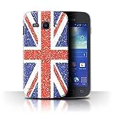 Stuff4 Custodia/Cover/Caso/Cassa Rigide/Prottetiva Stampata con Il Disegno Effetto Motivo Glitterato per Samsung Galaxy Ace 3/S7270 - Unione Jack Bandiera/Britannico