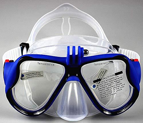 WOWDECOR Tauchmaske für Gopro Kamera Erwachsene Kinder mit Kurzsichtigkeit Kurzsichtig, Schnorchelmaske Taucherbrille Dioptrin Dioptrien Korrektur (Blau, -9,0)