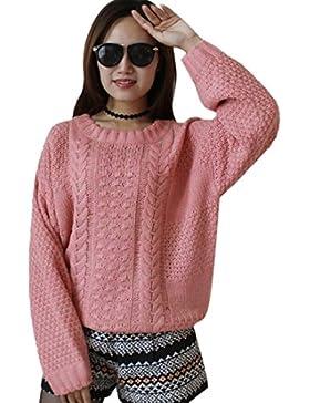 QIYUN.Z Las Mujeres Otoño Invierno Rosa Tejidas Suéteres De Manga Larga Jersey Suéteres