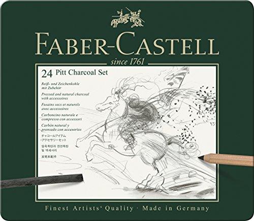 Faber-Castell 112978 - Pitt Kohle Set im Metalletui, 24-teilig