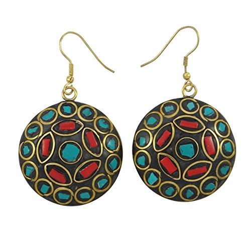 Banithani Goldtone Mosaic Tiles Dangle Earrings Set Indian Fashion Jewellery Gift For Women