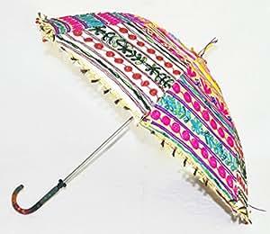 Handgefertigt, mit Fransen, Stickerei, Design Rajasthani Damen Regenschirm Baumwolle, 76 x 86 Cm, mehrfarbig