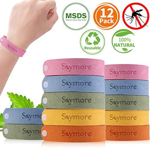 Skymore Pulseras Repelente de Mosquitos, Pulseras Antimosquitos, Pulseras Anti-Mosquitos de 12pcs Para Adultos y Niños, Materias Naturales