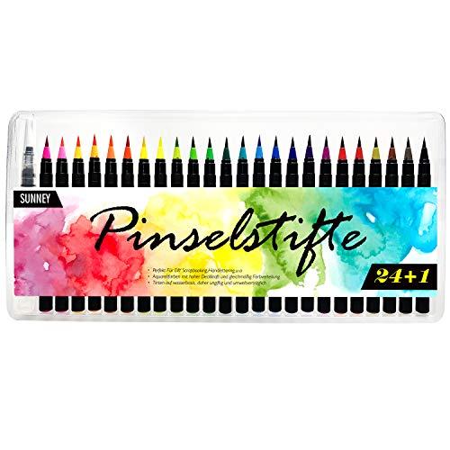 Pinselstifte Set, 24+1 Aquarellfarben Wassertankpinsel Brush Pen Stifte Wasserbasis Aquarellpinsel Stifte Art Marker Filzstifte für Bullet Journal,Kalligraphie,Zeichnungen