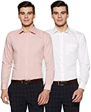 Amazon Brand - Symbol Men's Solid Regular Fit Full Sleeve Formal Shirt (Combo Pack o