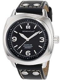Momentum Square One 1M-SP66B2 - Reloj analógico de cuarzo para hombre, correa de cuero color negro