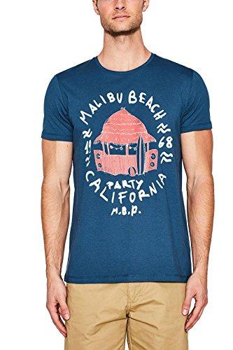 ESPRIT Herren T-Shirt 057ee2k023 Blau (Petrol Blue 450)