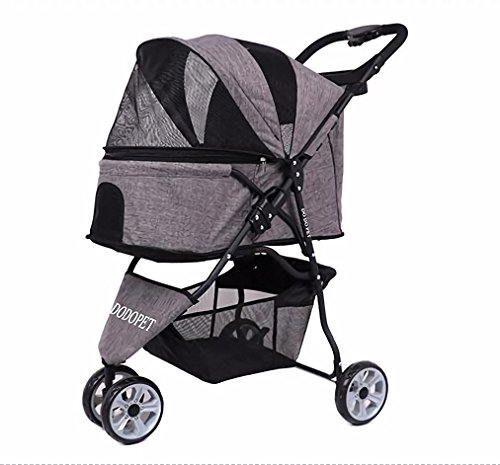 Haol Pet Stroller Dog Puppy Cat Pet Travel Stroller Sillita De Paseo Pram Jogger Ruedas Giratorias Ligero Marco De Acero Inoxidable,Gray,Cockpit60×33×50Cm