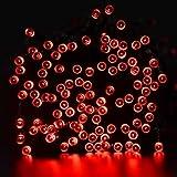 lederTEK Solar Lichterkette LED Außen 22m 200LED 8 Modi Außenlichterkette Wasserdicht mit Lichtsensor Weihnachtsbeleuchtung Beleuchtung Deko für Außen & Innen,Weihnachten, Party, Festen (Rot)