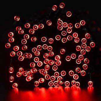 lederTEK Energia Solare Impermeabile Leggiadramente Luci Stringa di 22m 200 LED 8 Modi di Natale Lampada Decorativa per All'aperto, Giardino, Casa, Matrimonio, Albero di Natale Capodanno Party (200 LED Rosso)