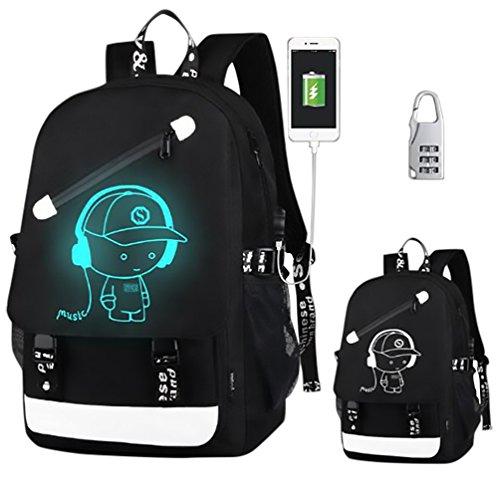 Withu Kyd Unisex Cool Jungen Mädchen Herren Damen Outdoor Rucksack Reiserucksack Anime Luminous Rucksack Daypack Schultertasche Laptop Tasche mit USB-Ladeanschluss, USB Black Music Boy